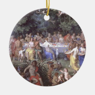 The Feast of the Gods (oil on canvas) Round Ceramic Decoration