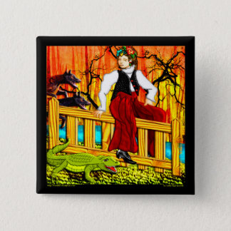 The Fence Sitter (pin) 15 Cm Square Badge