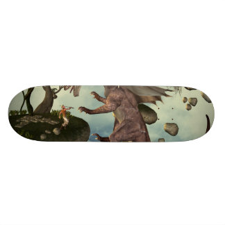 The fight, Dragon and dragon fighter Custom Skateboard