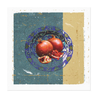 The Fine Art of Pomegranate in the Antique Plate! Canvas Print