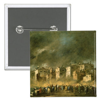 The Fire at San Marcuola (oil on canvas) 15 Cm Square Badge
