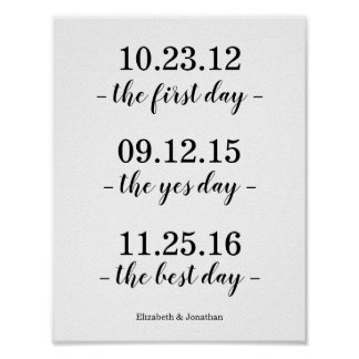 The First Day, The Yes Day, The Best Day Wedding Poster