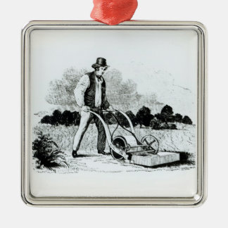 The first lawnmower (engraving) (b/w photo) metal ornament