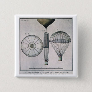 The First Parachute Descent by Andre-Jacques Garne 15 Cm Square Badge