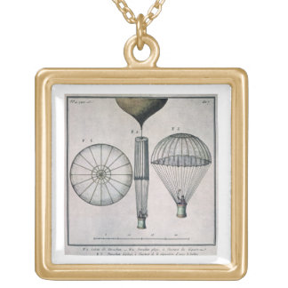 The First Parachute Descent by Andre-Jacques Garne Gold Plated Necklace