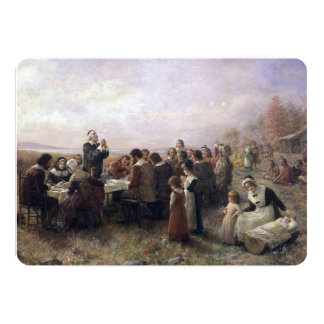 The First Thanksgiving at Plymouth by Brownscombe 13 Cm X 18 Cm Invitation Card