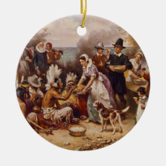 The First Thanksgiving by Jean Leon Gerome Ferris Ceramic Ornament