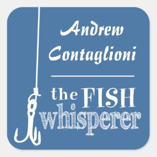 The Fish Whisperer (customizable colors) Square Sticker