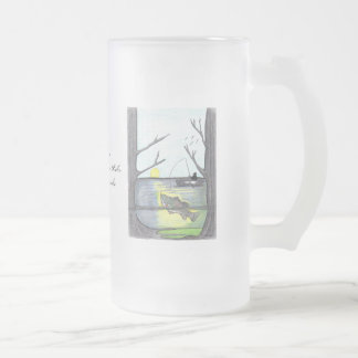 The Fisherman...Frosted Glass Mug... Frosted Glass Beer Mug
