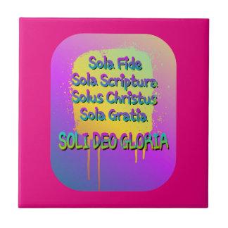 The Five Solas Small Square Tile