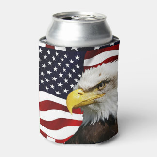 The flag of america with eagle can cooler