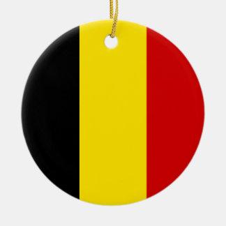 The Flag of Belgium Round Ceramic Decoration