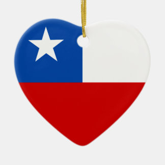 The Flag of Chile Ceramic Heart Decoration