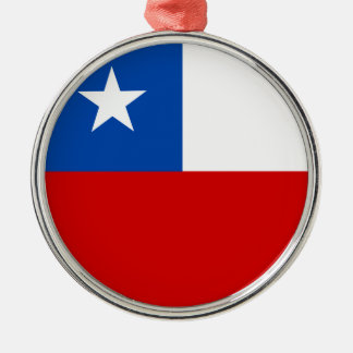The Flag of Chile Silver-Colored Round Decoration