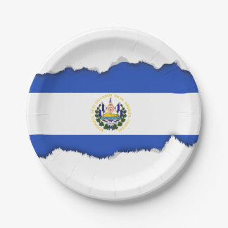 The flag of El Salvador 7 Inch Paper Plate