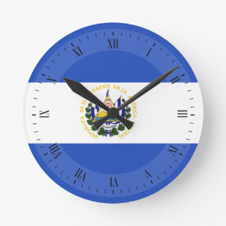 The Flag of El Salvador Round Clock