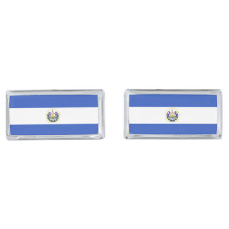 The flag of El Salvador Silver Finish Cuff Links