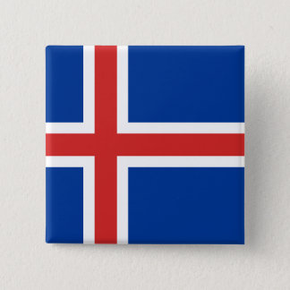 The Flag of Iceland 15 Cm Square Badge