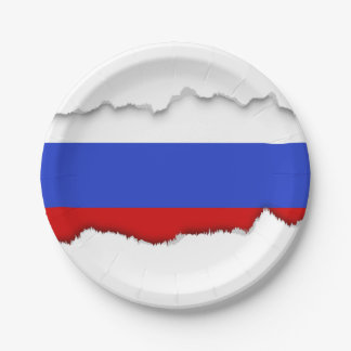 The Flag of Russian 7 Inch Paper Plate