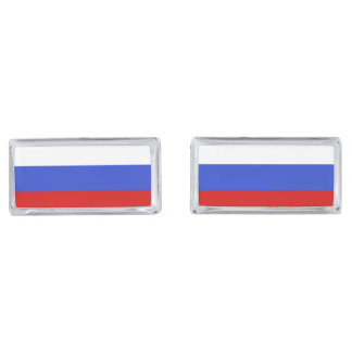 The Flag of Russian Silver Finish Cuff Links