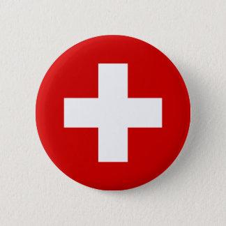 The Flag of Switzerland 6 Cm Round Badge