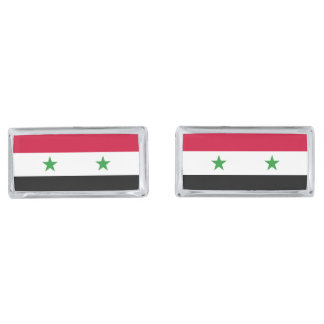 The Flag of Syria Silver Finish Cufflinks