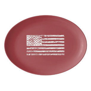 The Flag of the USA with Rusty Effect I Porcelain Serving Platter