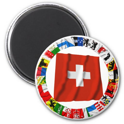 The Flags of the Cantons of Switzerland Refrigerator Magnet