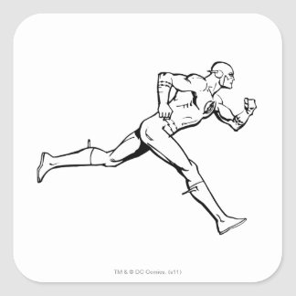 The Flash Running Outline Square Stickers