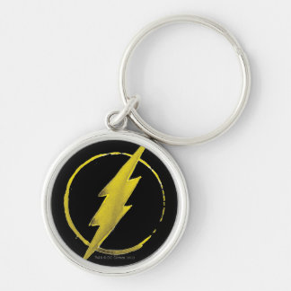 The Flash | Yellow Chest Emblem Silver-Colored Round Key Ring