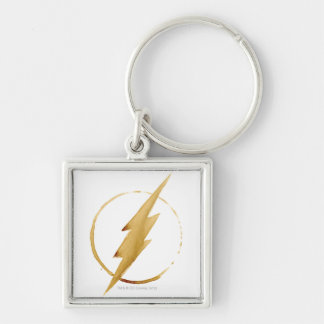 The Flash | Yellow Chest Emblem Silver-Colored Square Key Ring