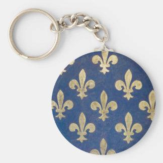 The fleur-de-lis or fleur-de-lys basic round button key ring