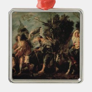 The Flight into Egypt, 17th century Silver-Colored Square Decoration
