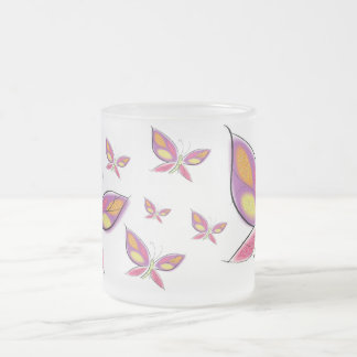 The Flight of the Flutterby Frosted Glass Coffee Mug