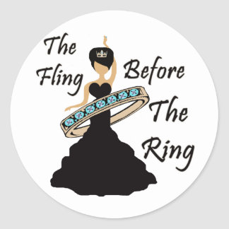 The Fling Before The Ring White Background Round Sticker