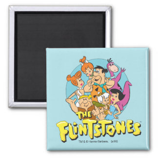 The Flintstones and Rubbles Family Graphic Square Magnet