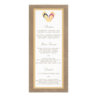 The Flip-Flop Sand Beach Burlap Wedding Collection 10 Cm X 23 Cm Rack Card