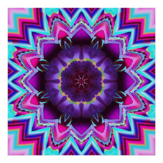 The Floral Kaleidoscope, fractal wallart Poster