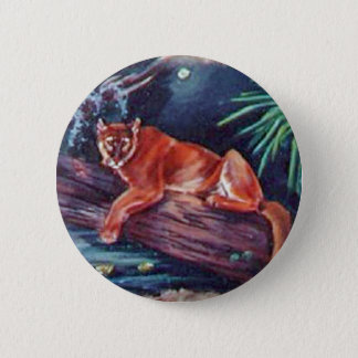 The Florida panther in the swamp 6 Cm Round Badge