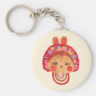 The Flower Crown Bunny Basic Round Button Key Ring