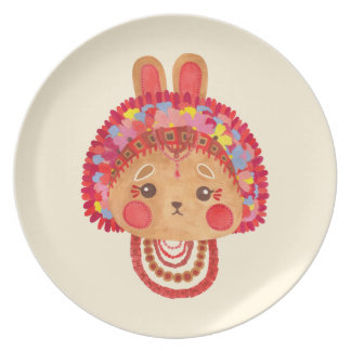 The Flower Crown Bunny Plates