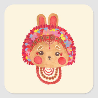 The Flower Crown Bunny Square Sticker