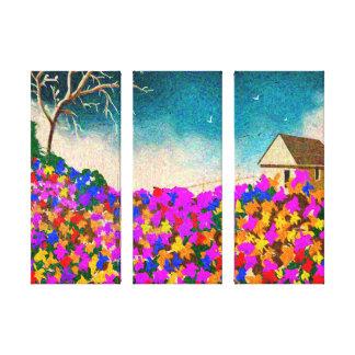 """""""The Flower Garden"""" Three Panel Art on Canvas"""