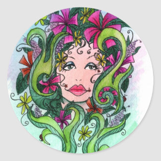 The Flower Maiden Classic Round Sticker