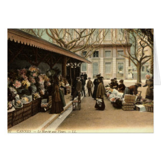 The Flower Market, Cannes France, 1915 Vintage Card