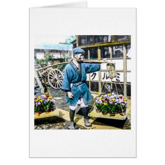 The Flower Merchant in Old Japan Vintage Card