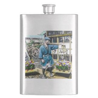 The Flower Merchant in Old Japan Vintage Hip Flask