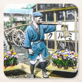 The Flower Merchant in Old Japan Vintage Square Paper Coaster