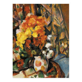 The Flowered Vase by Paul Cezanne Postcard
