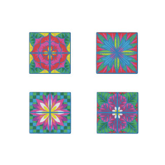 The Flowers of Spain Tile Magnets Set of Four